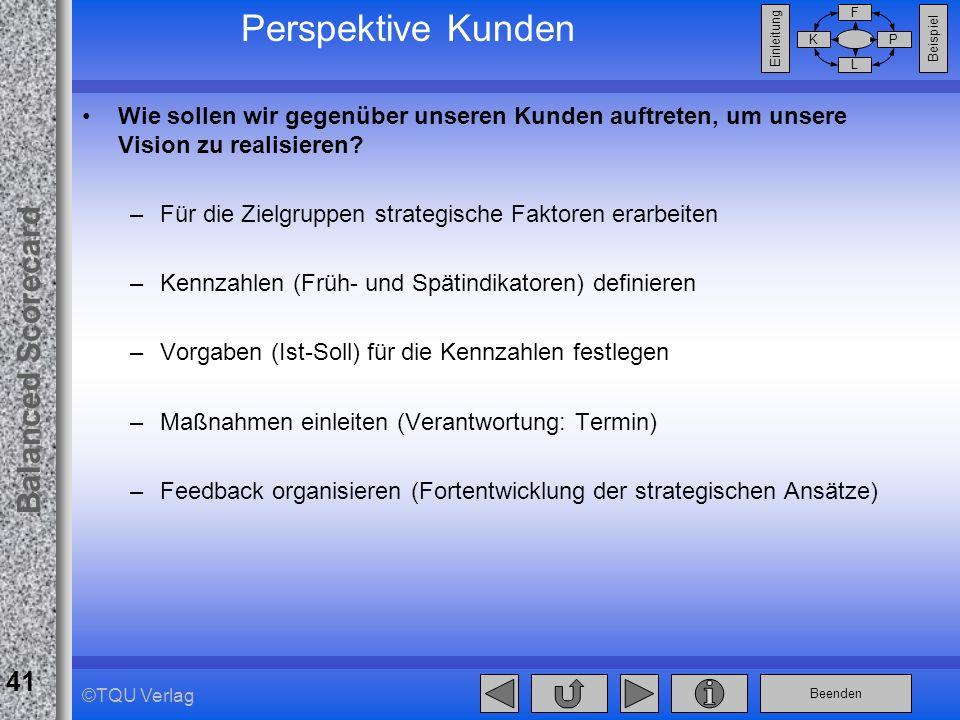 Perspektive Kunden Wie sollen wir gegenüber unseren Kunden auftreten, um unsere Vision zu realisieren