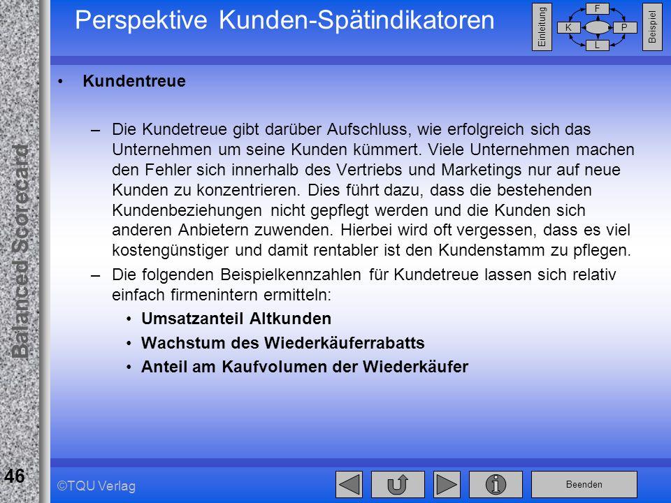 Perspektive Kunden-Spätindikatoren