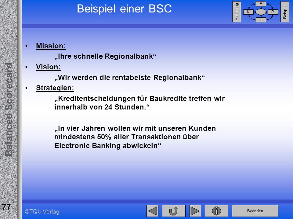"""Beispiel einer BSC Mission: """"Ihre schnelle Regionalbank Vision:"""