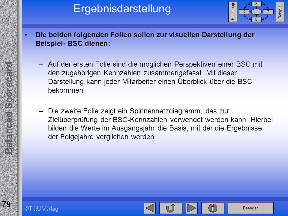 Ergebnisdarstellung Die beiden folgenden Folien sollen zur visuellen Darstellung der Beispiel- BSC dienen: