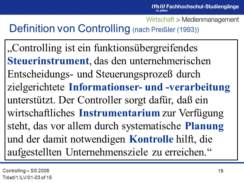 Definition von Controlling (nach Preißler (1993))