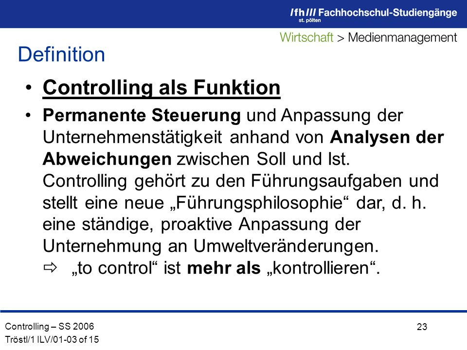 Controlling als Funktion