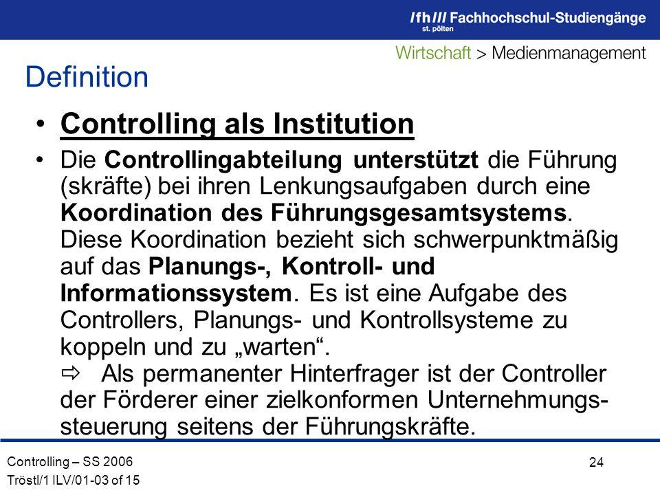 Controlling als Institution