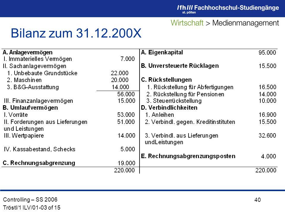 Bilanz zum 31.12.200X