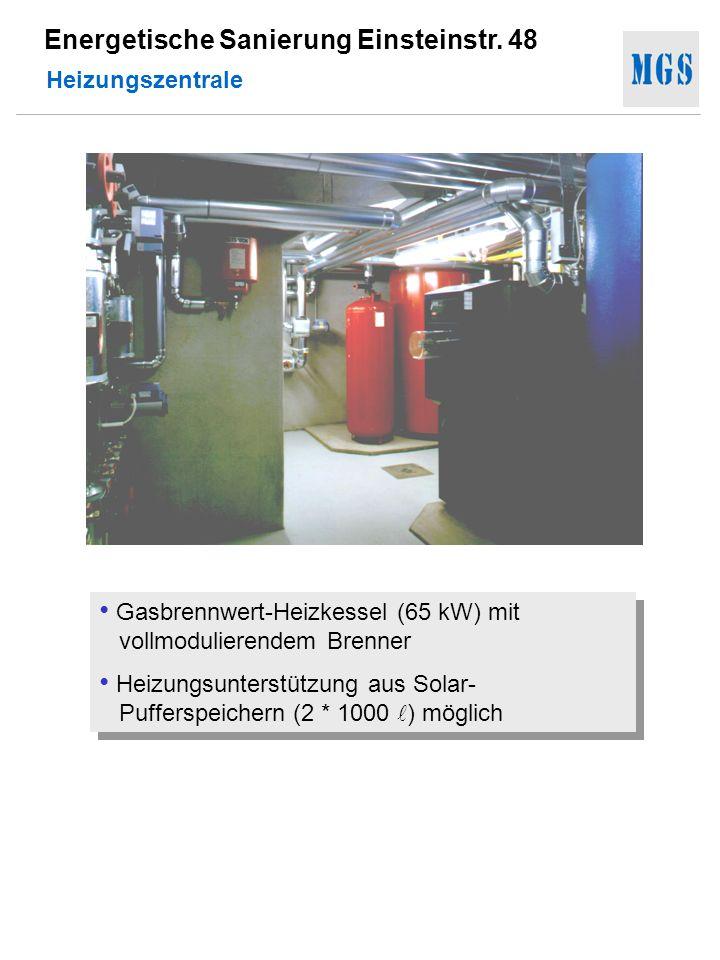 Heizungszentrale Gasbrennwert-Heizkessel (65 kW) mit vollmodulierendem Brenner.