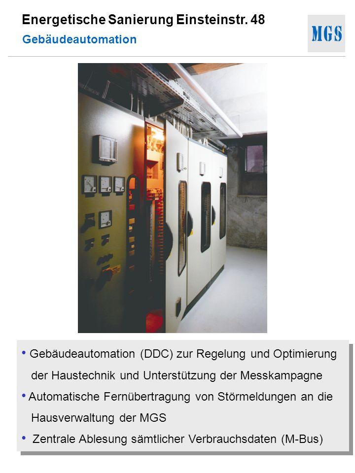 Gebäudeautomation Gebäudeautomation (DDC) zur Regelung und Optimierung der Haustechnik und Unterstützung der Messkampagne.