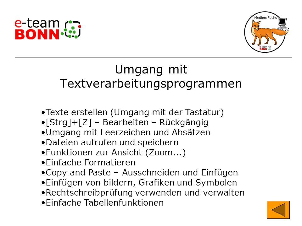 Umgang mit Textverarbeitungsprogrammen