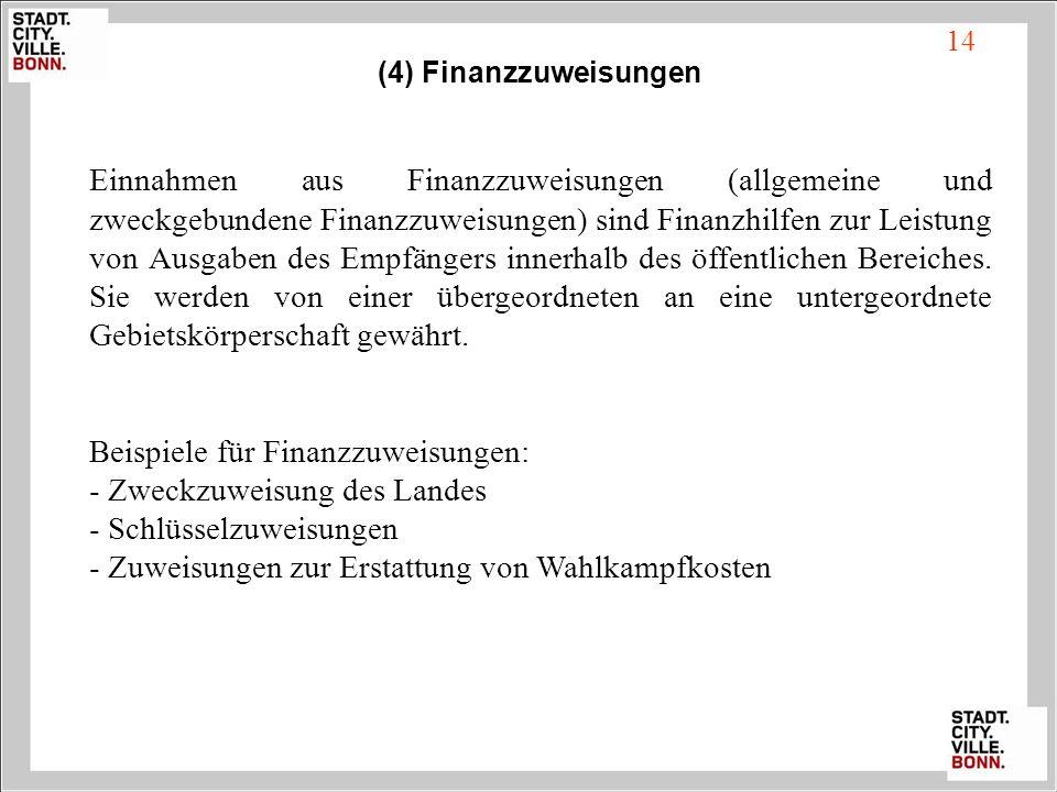 Beispiele für Finanzzuweisungen: - Zweckzuweisung des Landes