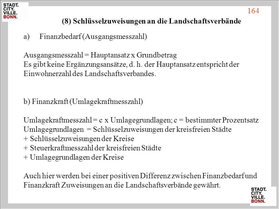 (8) Schlüsselzuweisungen an die Landschaftsverbände