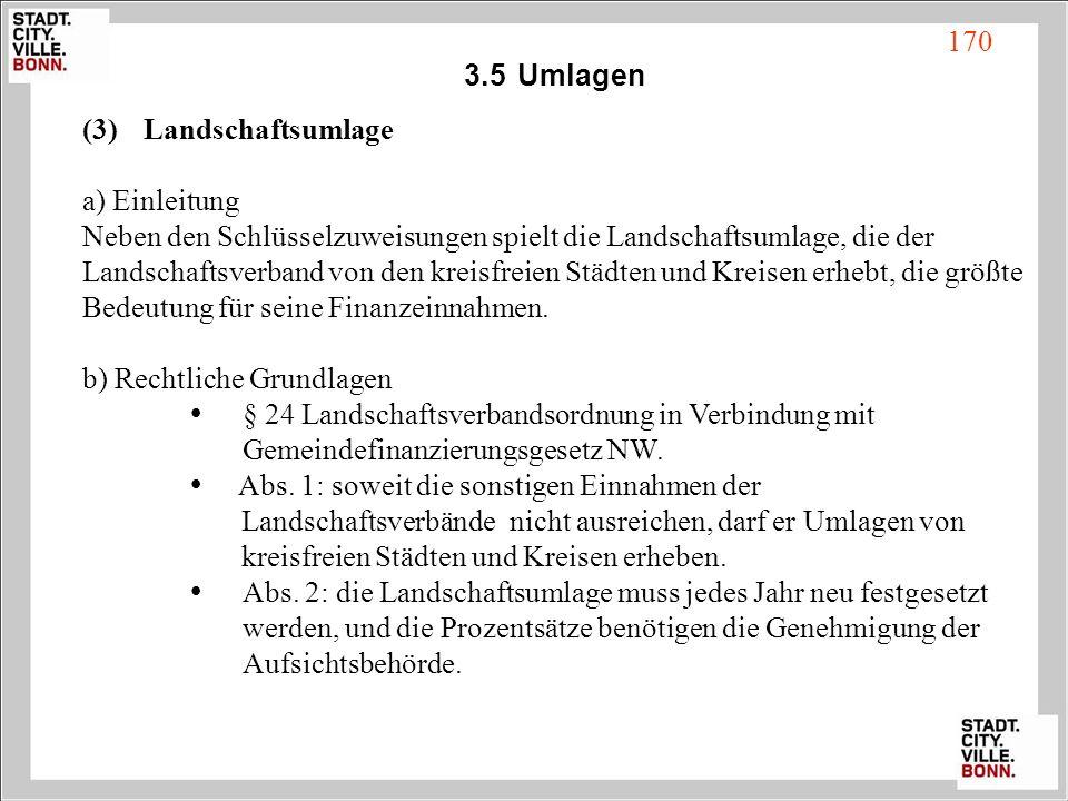 3.5 Umlagen Landschaftsumlage. a) Einleitung. Neben den Schlüsselzuweisungen spielt die Landschaftsumlage, die der.