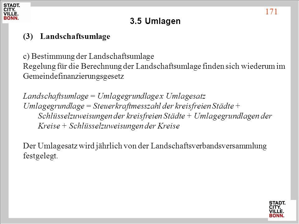 3.5 Umlagen Landschaftsumlage. c) Bestimmung der Landschaftsumlage. Regelung für die Berechnung der Landschaftsumlage finden sich wiederum im.