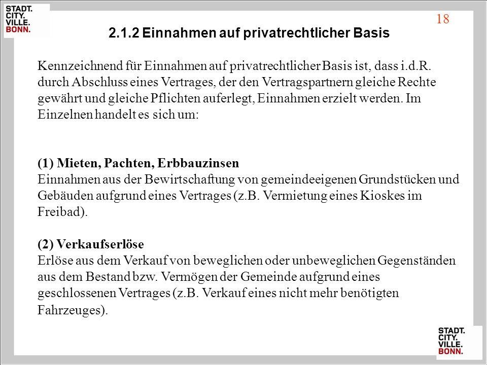 2.1.2 Einnahmen auf privatrechtlicher Basis
