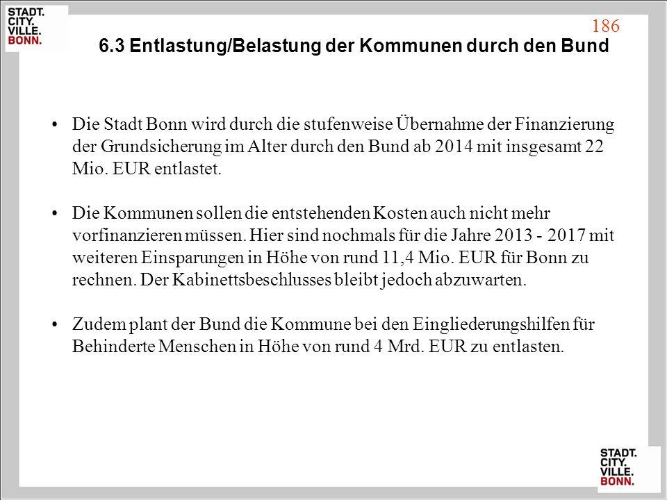 6.3 Entlastung/Belastung der Kommunen durch den Bund