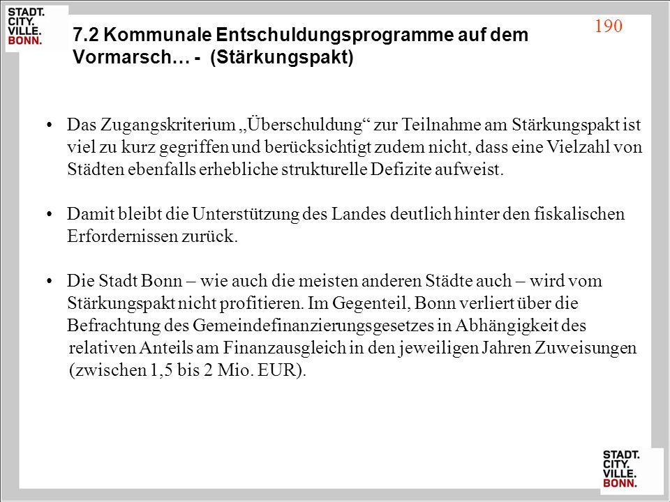 7.2 Kommunale Entschuldungsprogramme auf dem Vormarsch… - (Stärkungspakt)