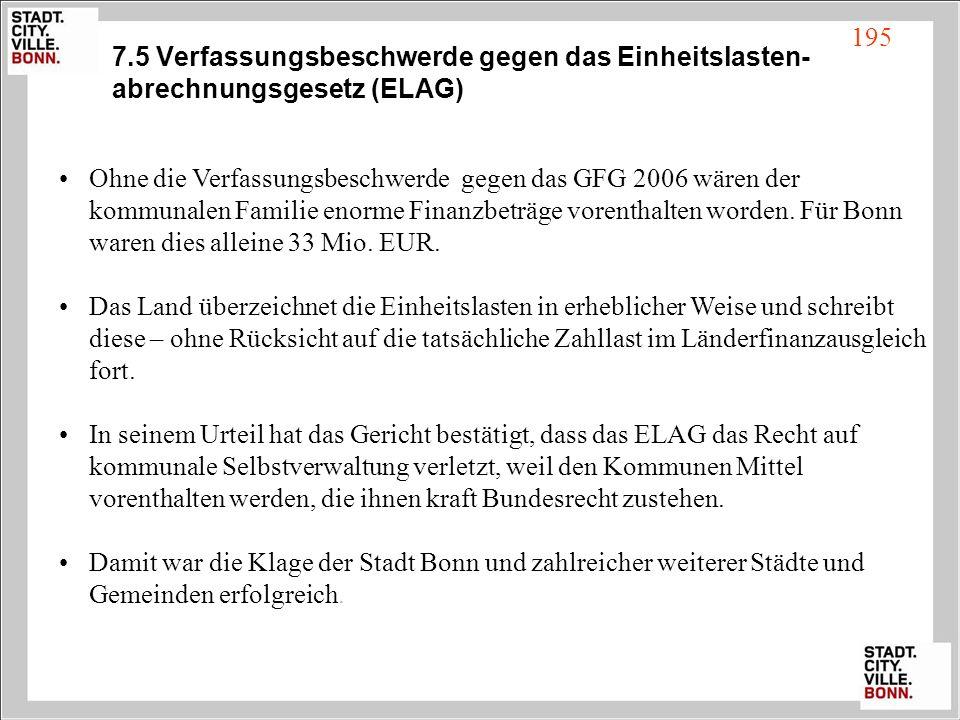 7.5 Verfassungsbeschwerde gegen das Einheitslasten-abrechnungsgesetz (ELAG)