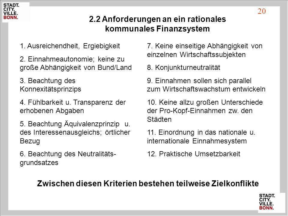 2.2 Anforderungen an ein rationales kommunales Finanzsystem