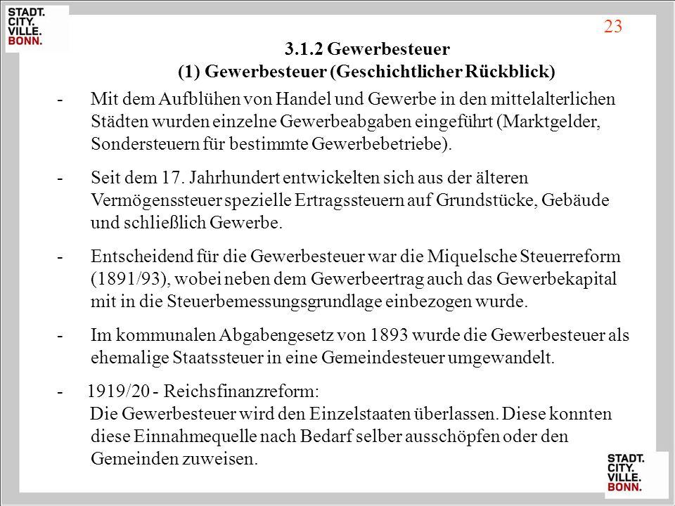 3.1.2 Gewerbesteuer (1) Gewerbesteuer (Geschichtlicher Rückblick)