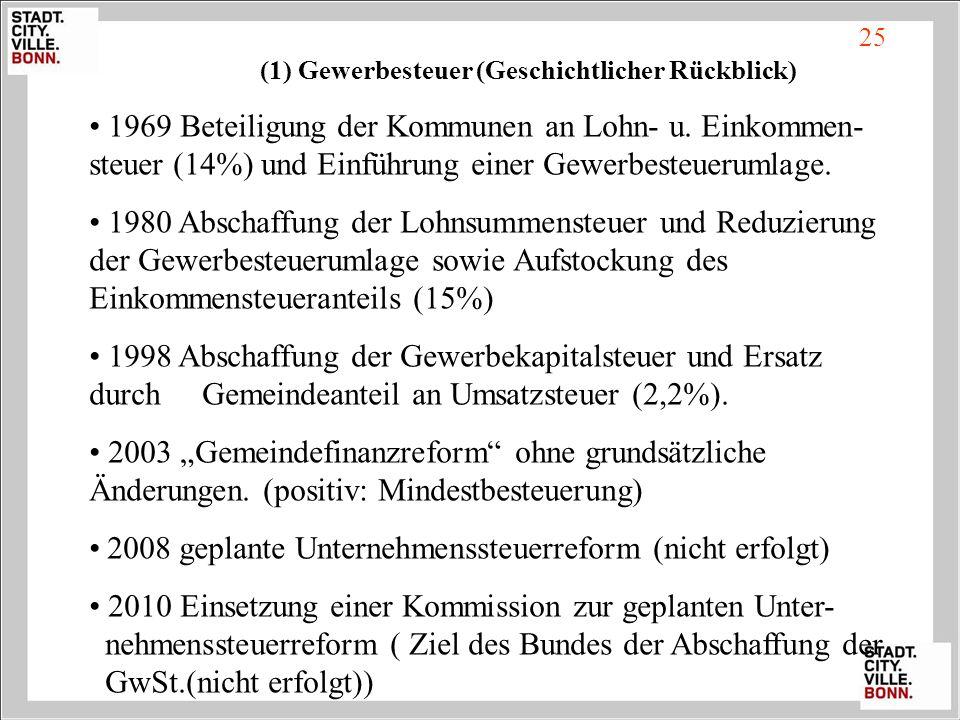 (1) Gewerbesteuer (Geschichtlicher Rückblick)