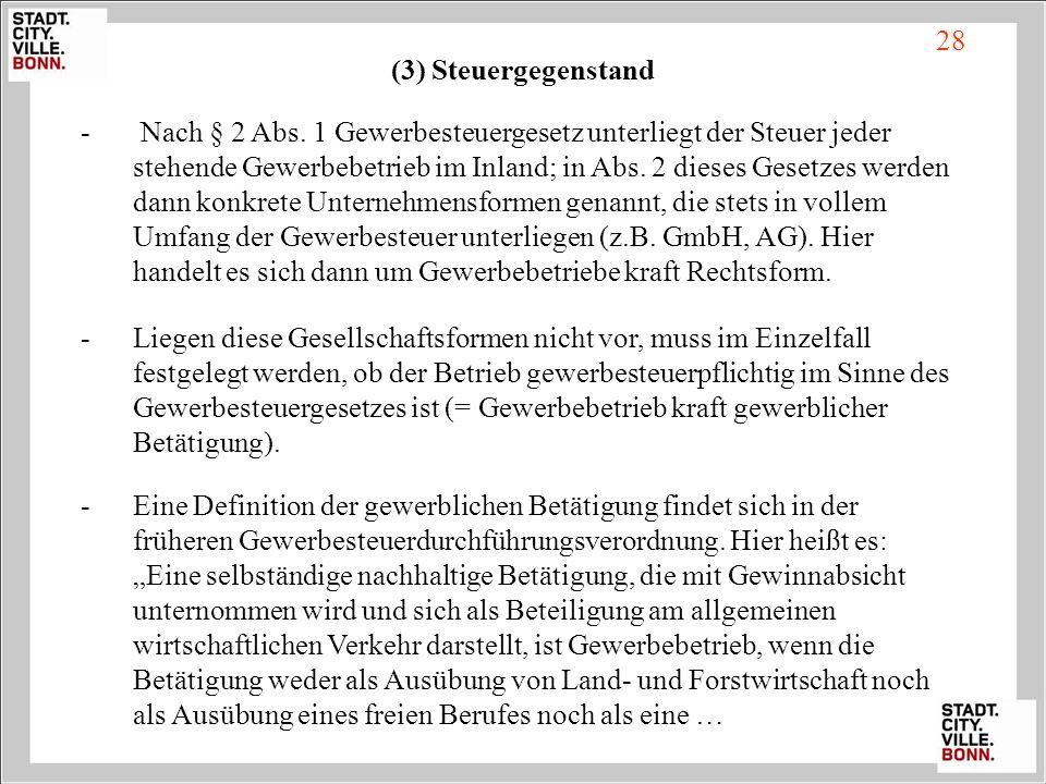 28 (3) Steuergegenstand.