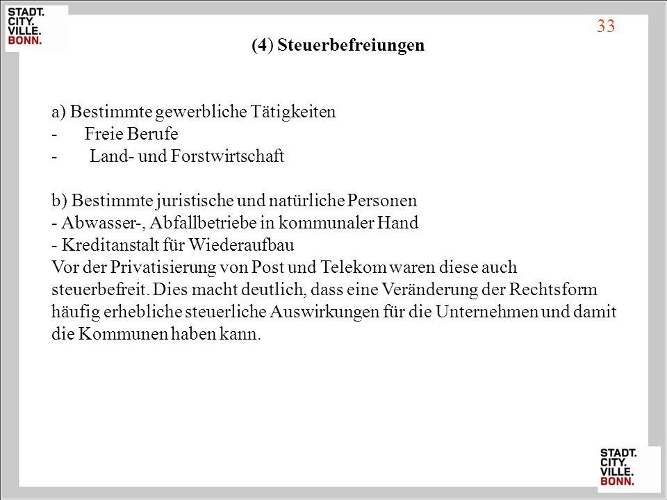 33 (4) Steuerbefreiungen. a) Bestimmte gewerbliche Tätigkeiten. - Freie Berufe. Land- und Forstwirtschaft.