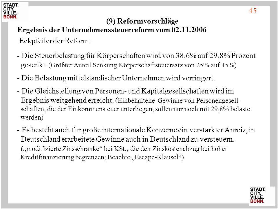 Ergebnis der Unternehmenssteuerreform vom 02.11.2006