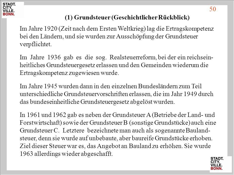 (1) Grundsteuer (Geschichtlicher Rückblick)
