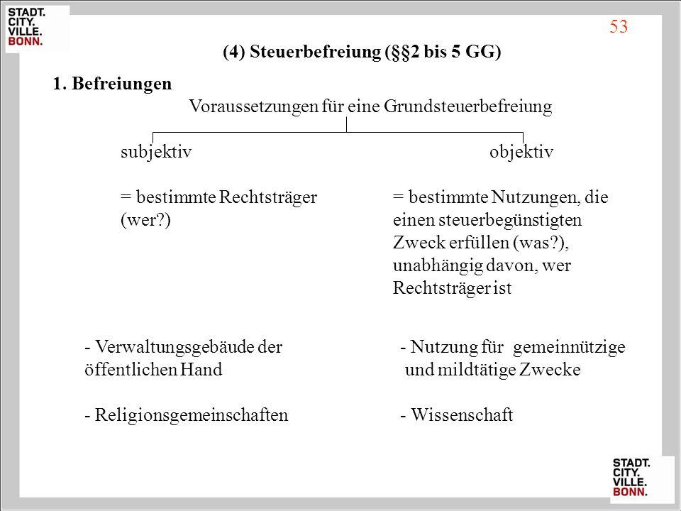 (4) Steuerbefreiung (§§2 bis 5 GG)