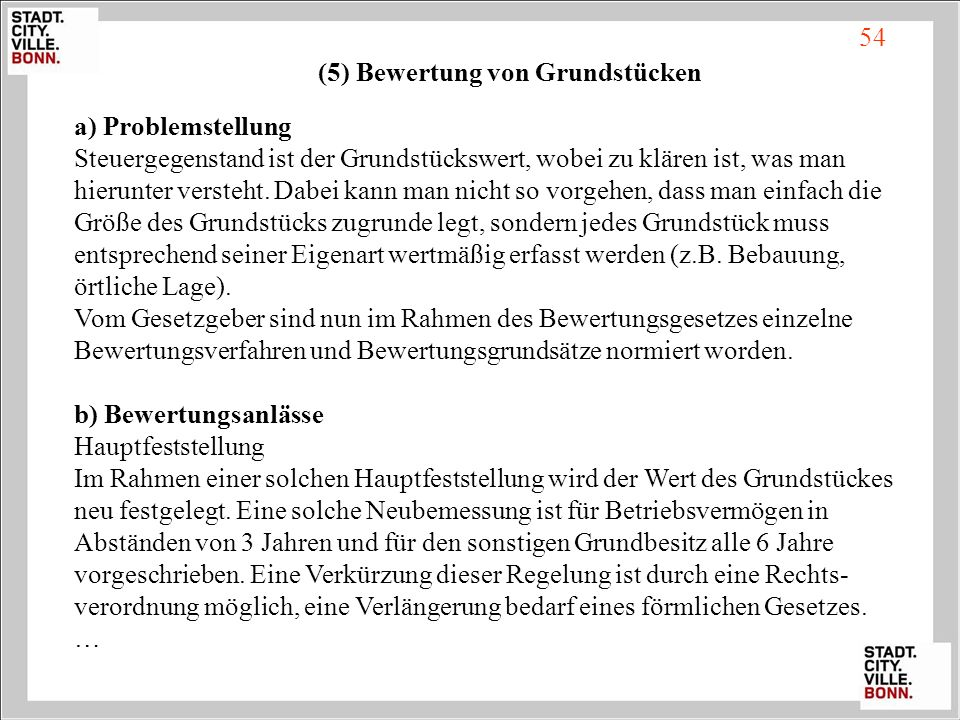 (5) Bewertung von Grundstücken