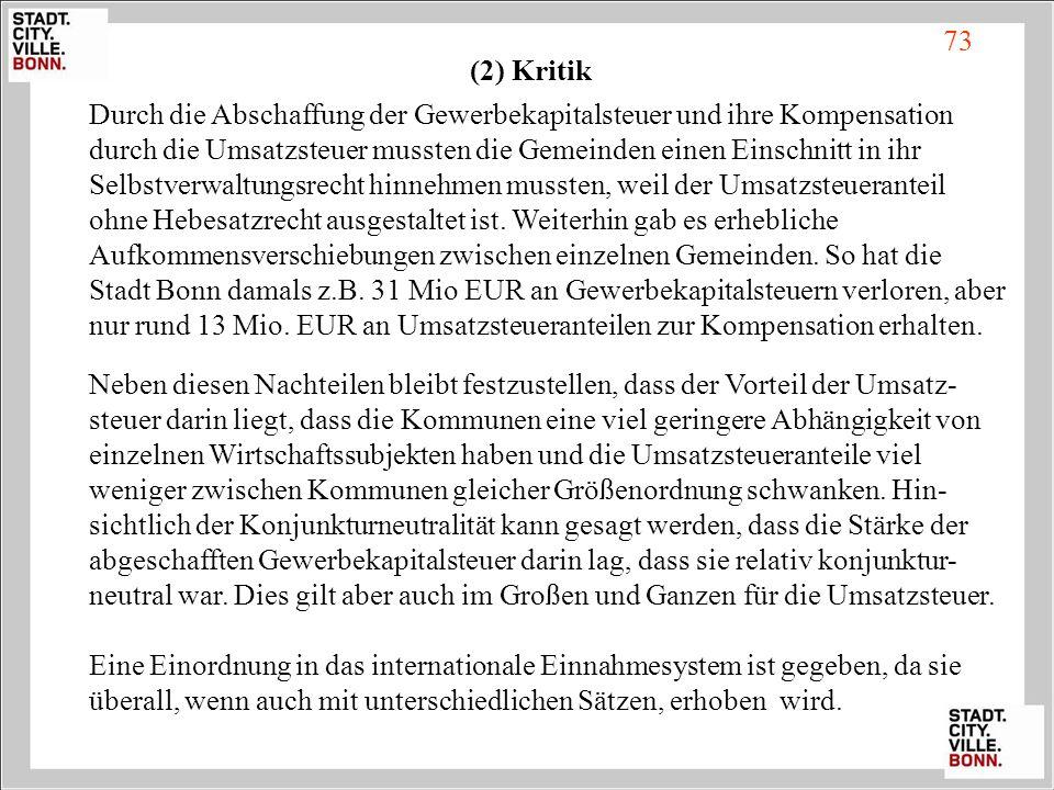 73 (2) Kritik.