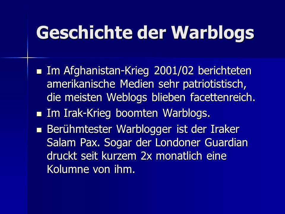 Geschichte der Warblogs