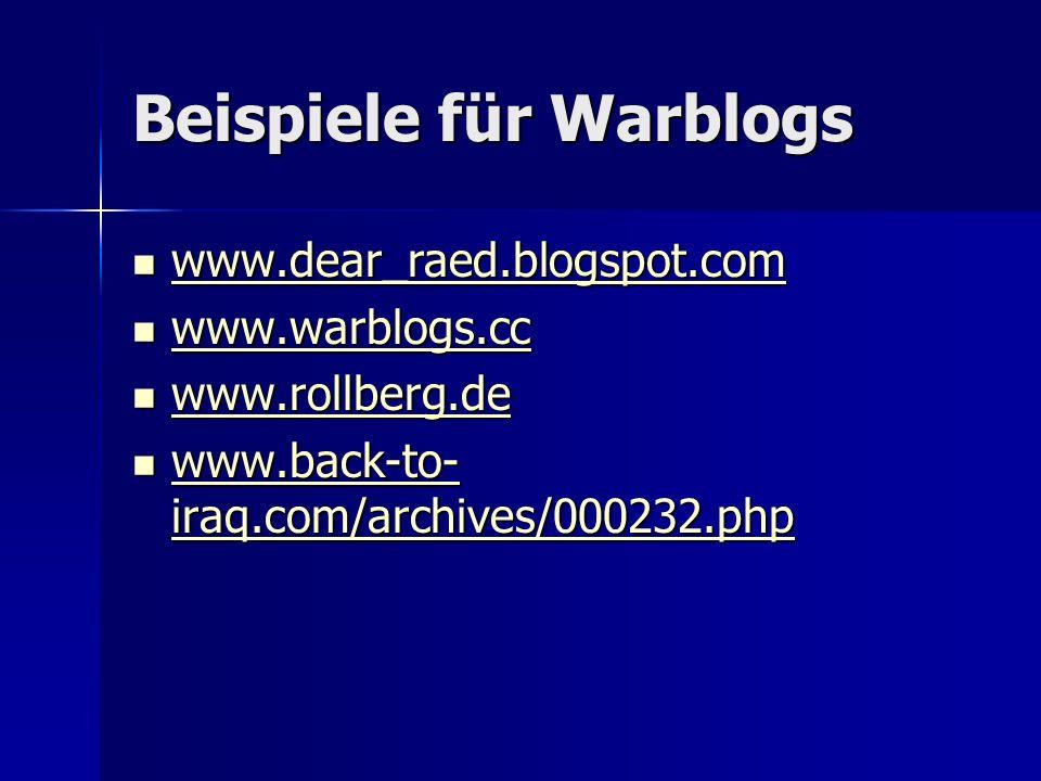 Beispiele für Warblogs