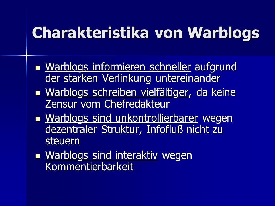 Charakteristika von Warblogs