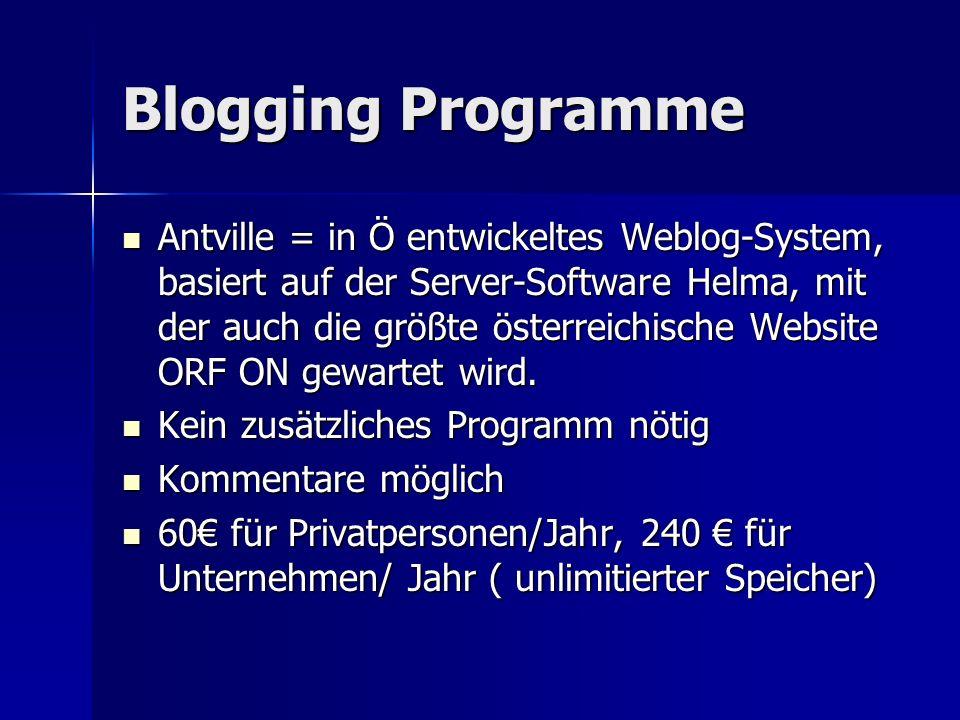Blogging Programme