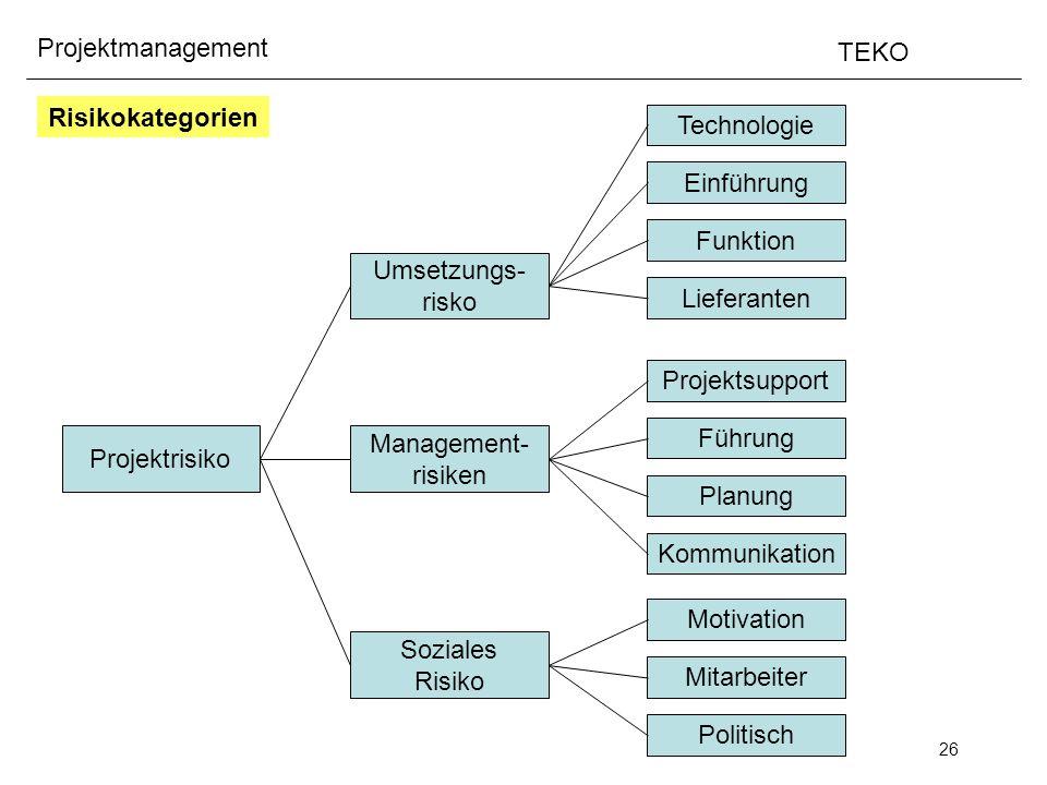 Risikokategorien Technologie. Einführung. Funktion. Umsetzungs- risko. Lieferanten. Projektsupport.