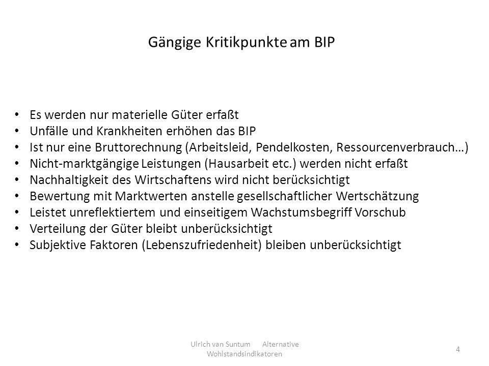 Gängige Kritikpunkte am BIP