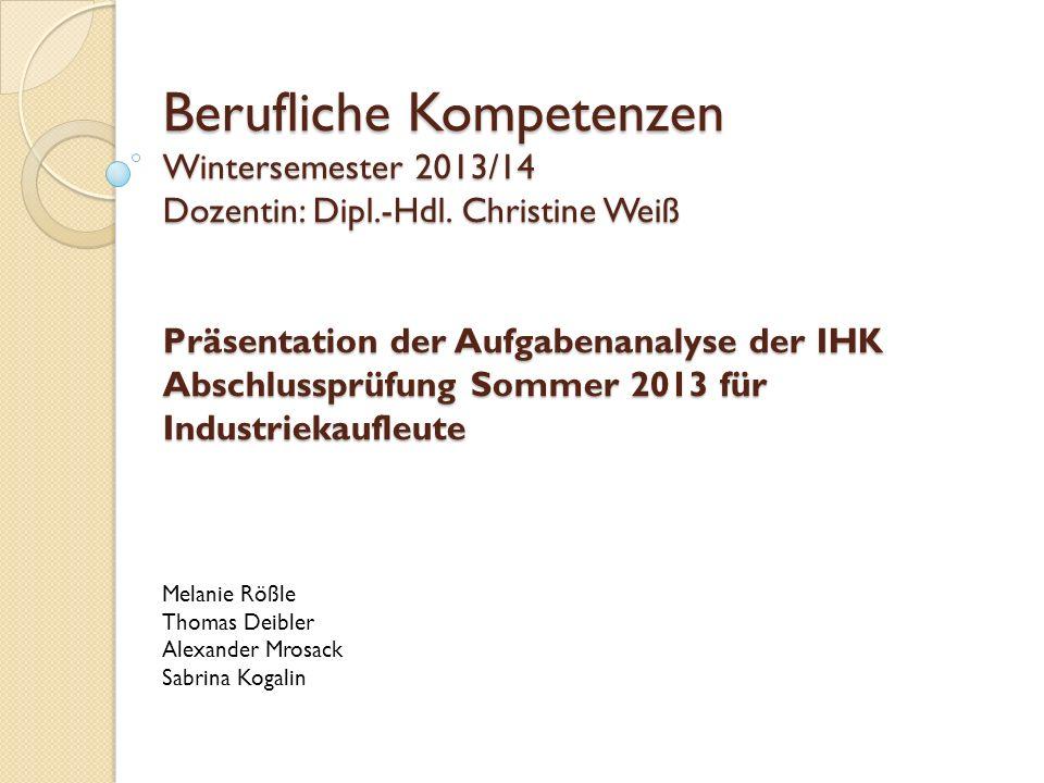 Berufliche Kompetenzen Wintersemester 2013/14 Dozentin: Dipl. -Hdl