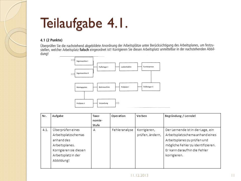 Teilaufgabe 4.1. Nr. Aufgabe. Taxo-nomie-Stufe. Operation. Verben. Begründung / Lernziel. 4.1.