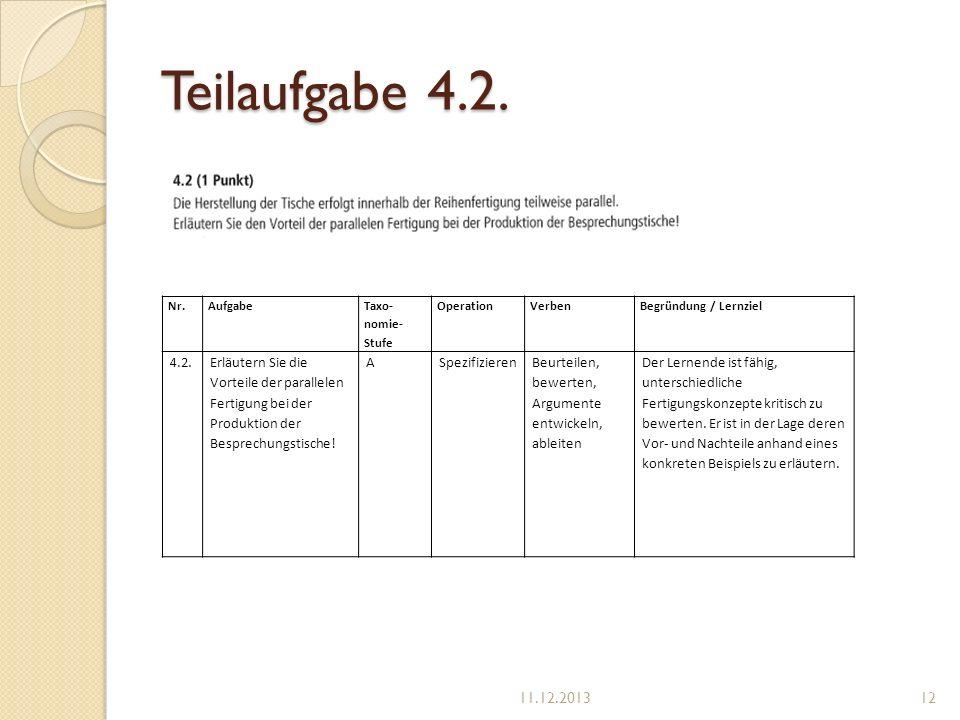 Teilaufgabe 4.2. Nr. Aufgabe. Taxo-nomie-Stufe. Operation. Verben. Begründung / Lernziel. 4.2.