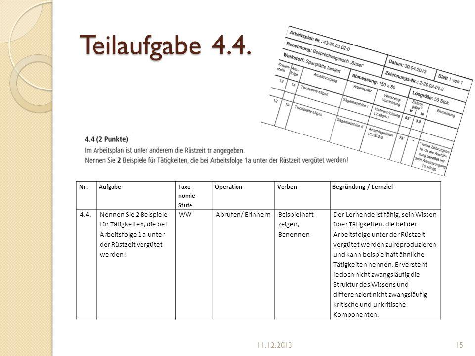 Teilaufgabe 4.4. Nr. Aufgabe. Taxo-nomie-Stufe. Operation. Verben. Begründung / Lernziel. 4.4.