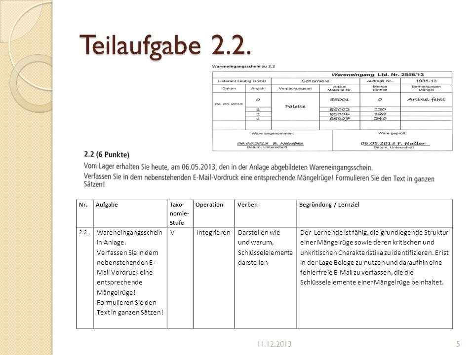 Teilaufgabe 2.2. 11.12.2013 Wareneingangsschein in Anlage.