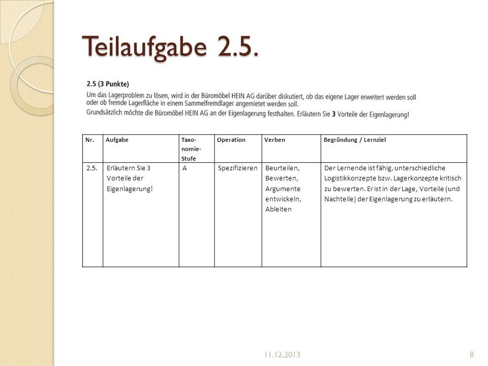 Teilaufgabe 2.5. Nr. Aufgabe. Taxo-nomie-Stufe. Operation. Verben. Begründung / Lernziel. 2.5.