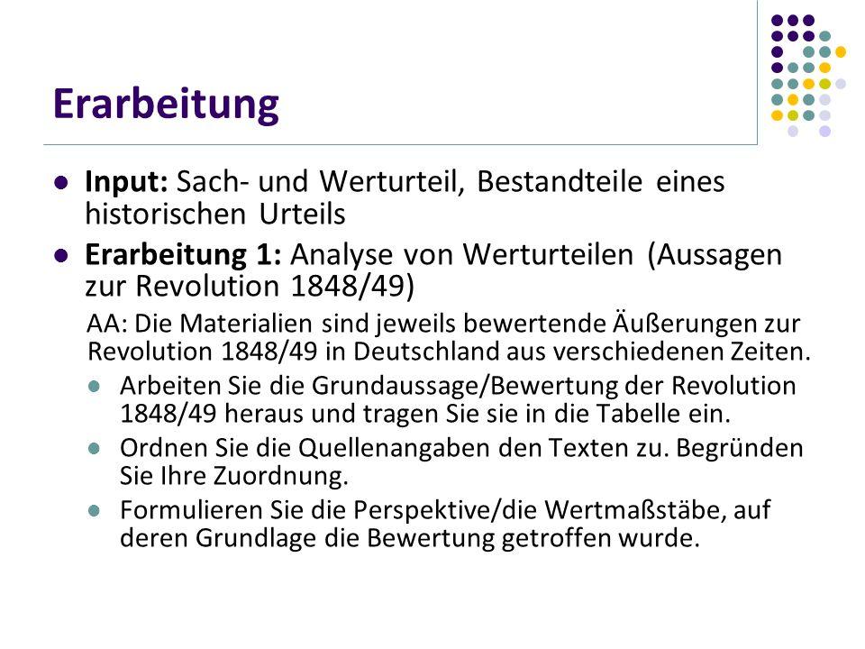 Erarbeitung Input: Sach- und Werturteil, Bestandteile eines historischen Urteils.