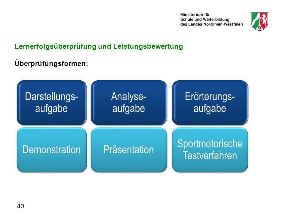 Lernerfolgsüberprüfung und Leistungsbewertung Überprüfungsformen: