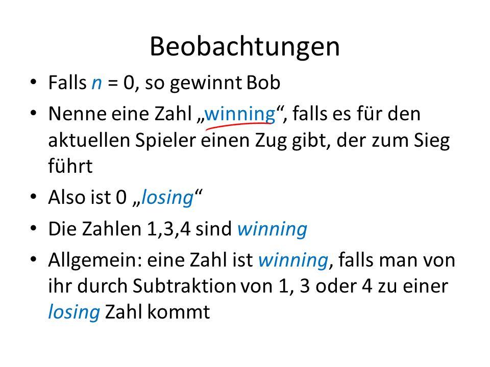 Beobachtungen Falls n = 0, so gewinnt Bob