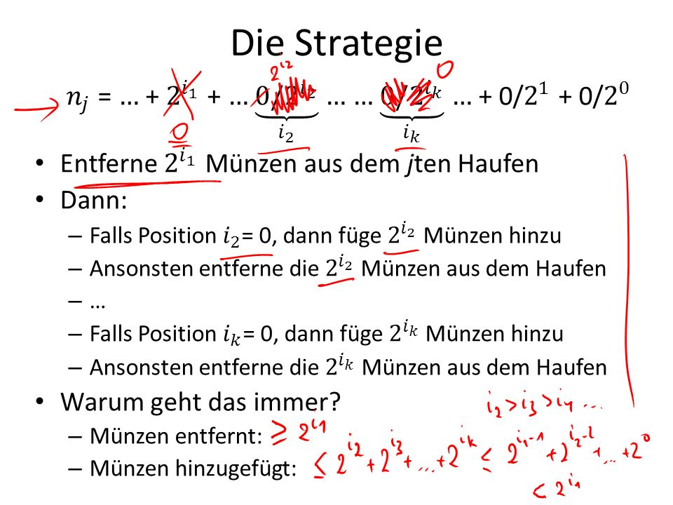 Die Strategie 𝑛 𝑗 = … + 2 𝑖 1 + … 0/2 𝑖 2 𝑖 2 … … 0/2 𝑖 𝑘 𝑖 𝑘 … + 0/ 2 1 + 0/ 2 0.