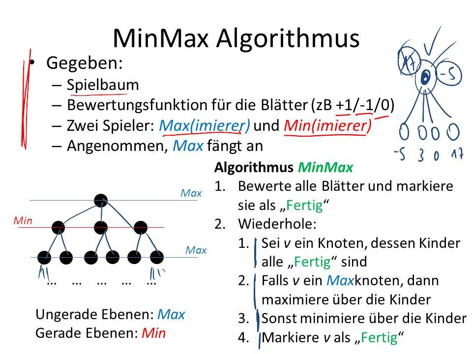 MinMax Algorithmus Gegeben: Spielbaum