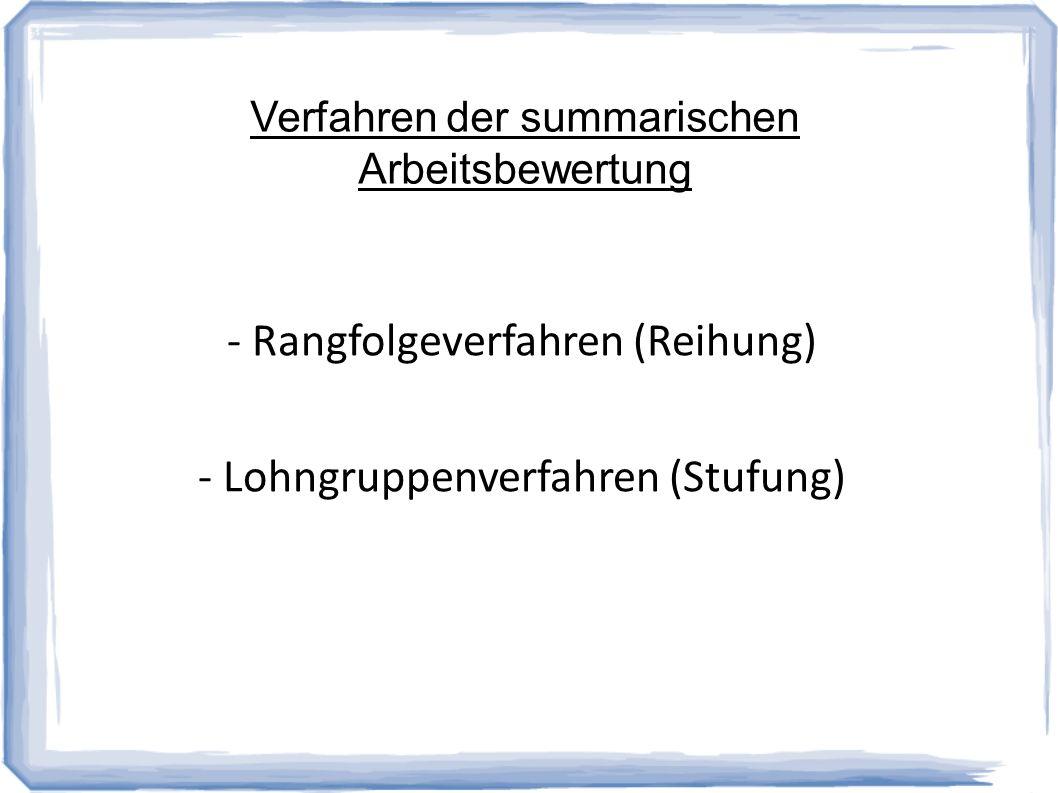 - Rangfolgeverfahren (Reihung) - Lohngruppenverfahren (Stufung)