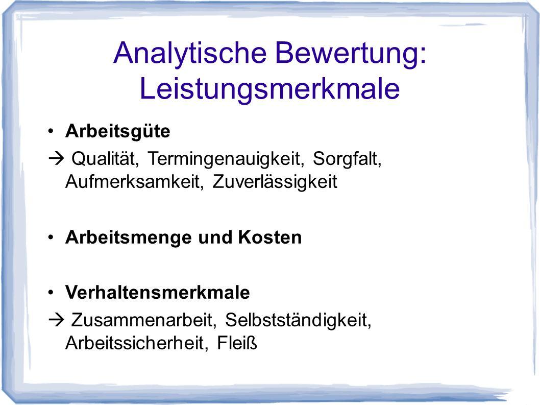 Analytische Bewertung: Leistungsmerkmale