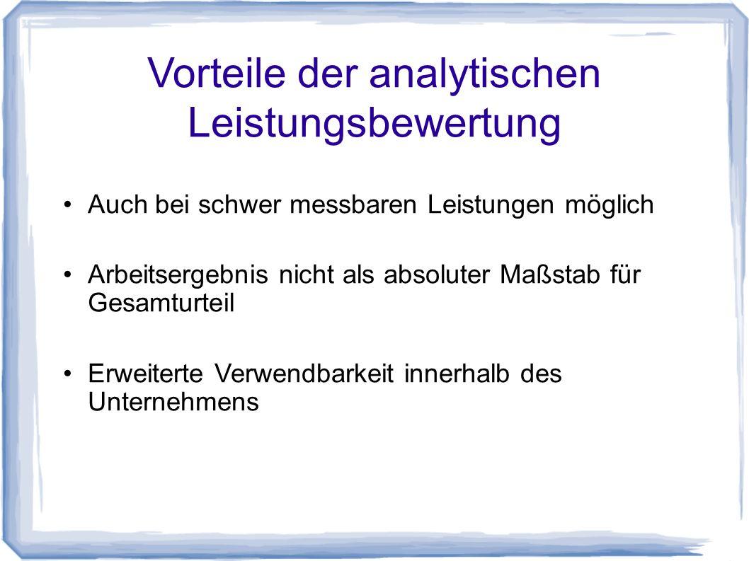 Vorteile der analytischen Leistungsbewertung