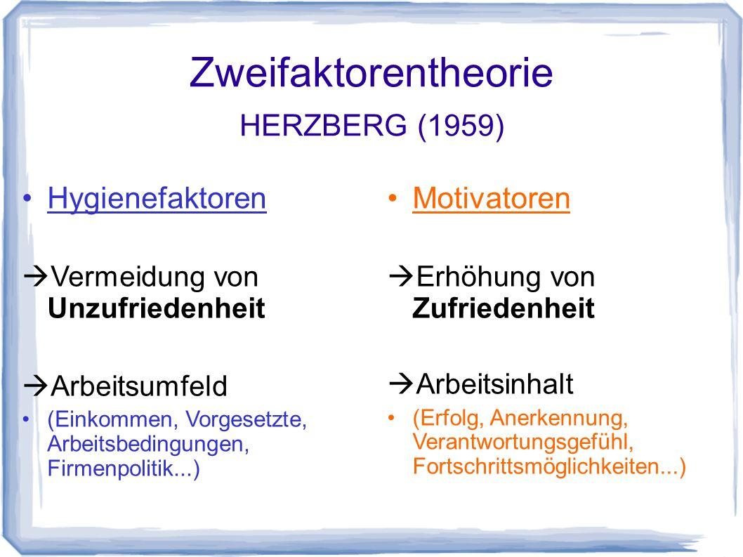 Zweifaktorentheorie HERZBERG (1959)